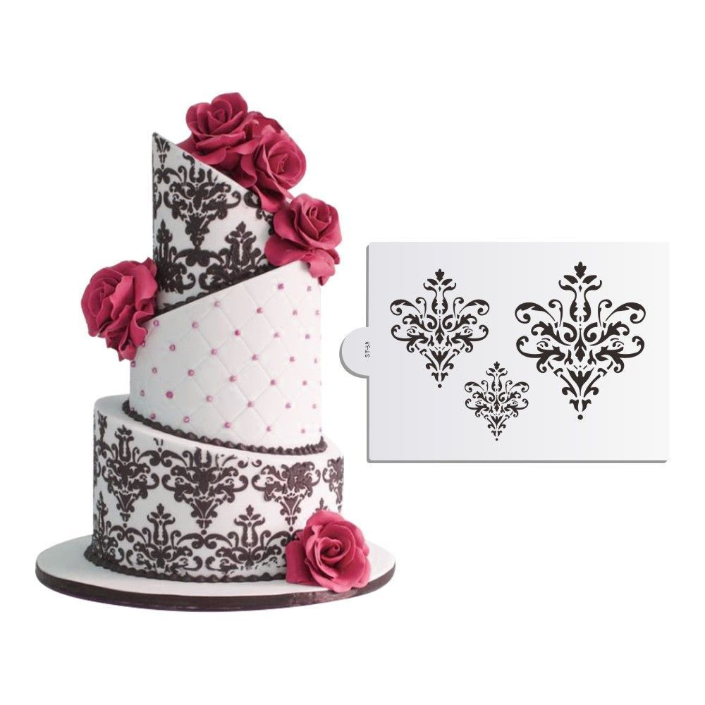 Three Chandelier Lace Cake Stencil