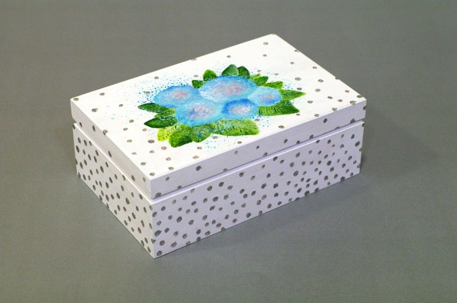 Flowers Wooden Box Wooden Painting Box Gift Box Painting Flower Box Jewelry Box Wood Box Han Jewelry Box Diy Wood Jewelry Box Hand Painted Wooden Box