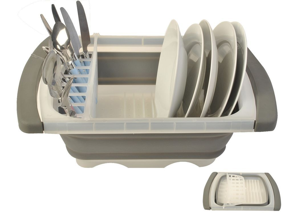 Progressive Collapsible Over The Sink Dish Drainer Expand U0026 Collapse Gray  New #Unbranded