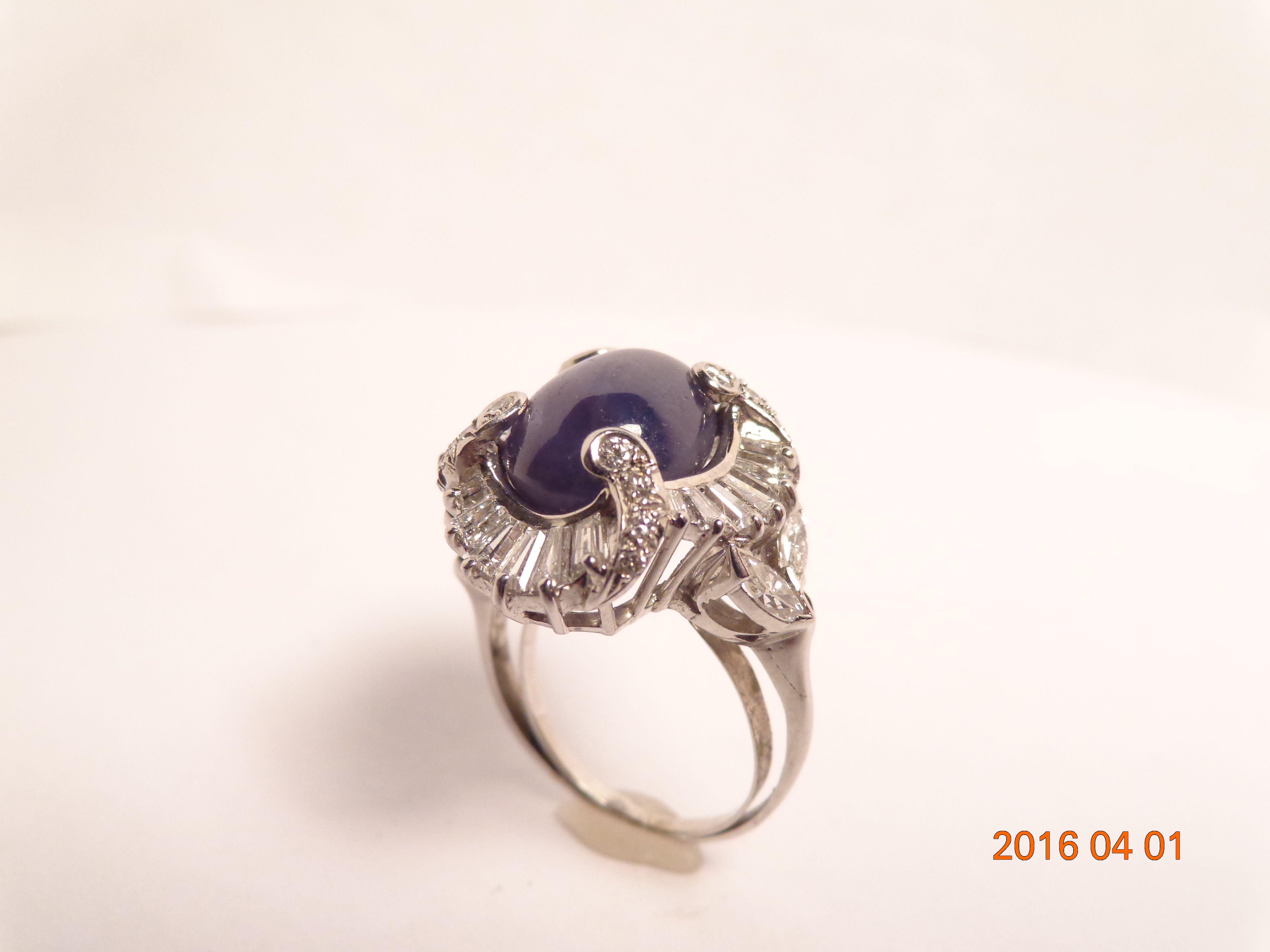 3p-e179, Platinum, circa 1930's, 9 ct star saph, 1.70 ct damond, value: $10,000, call for SPECIAL PRICE, 312-337-3500, hhorwitz.com