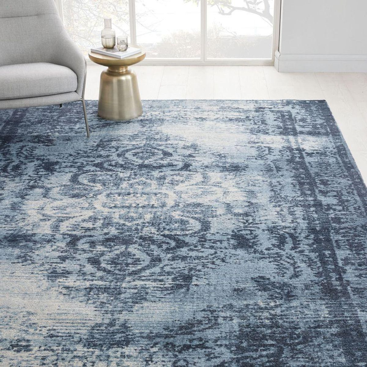 Distressed Arabesque Wool Rug Midnight With Images Wool Rug