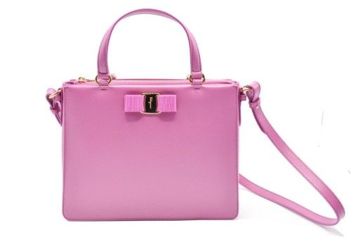 Salvatore Ferragamo Tracy Saffiano Crossbody Pink Satchel Bag ... b39b9794322e6
