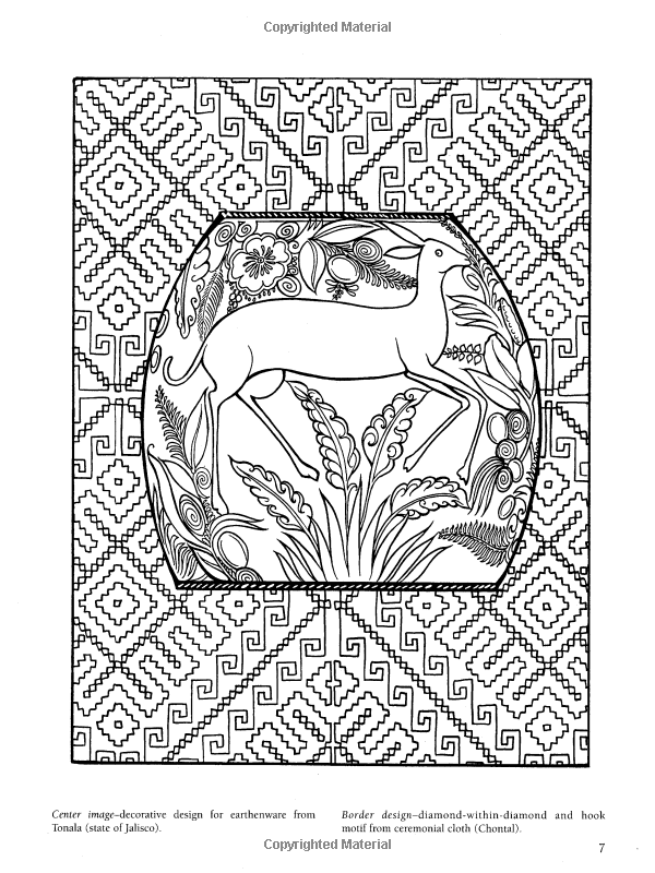 Amazon Com Mexican Folk Art Coloring Book Dover Design Mexican Folk Coloring Pages