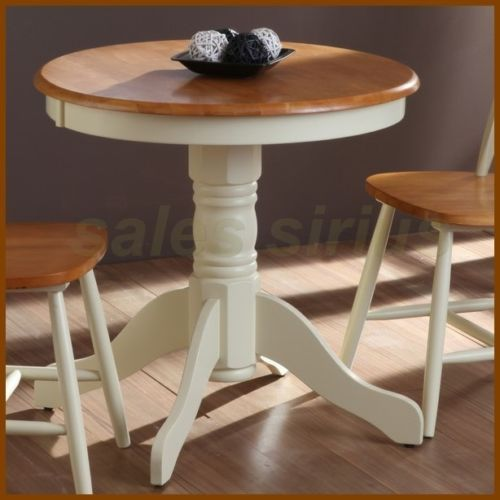 Round Dining Table Small Bistro Solid Wood Pedestal Dinner Coffee
