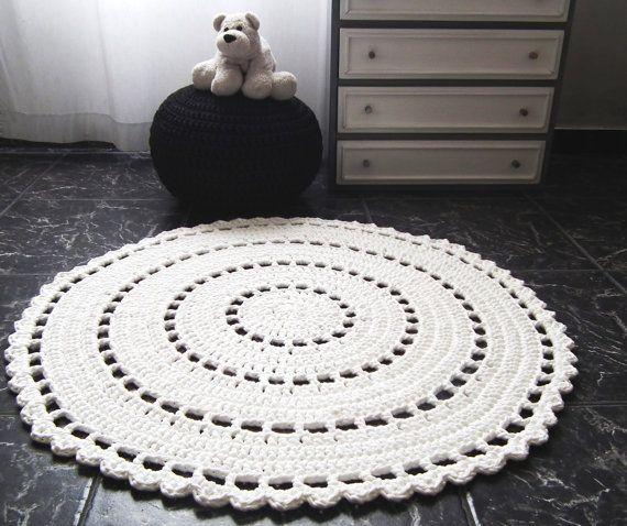 Round Doily Crochet Rug Large White