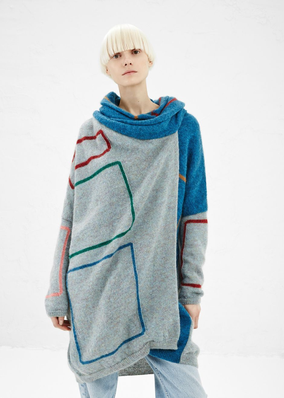 dream sweater - anntian color outline wrap cardigan