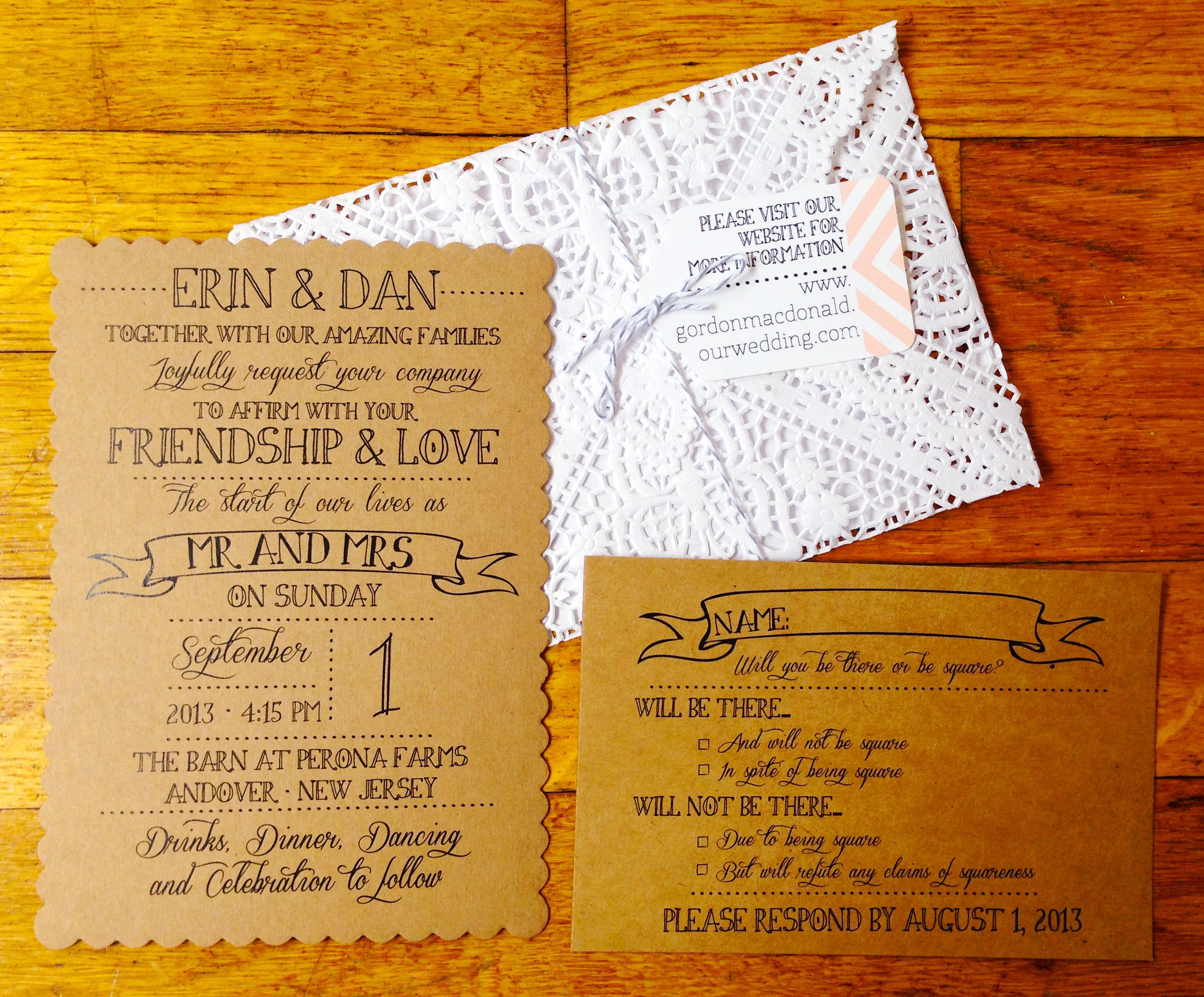 Diy wedding inviations kraft rustic vintage stampspostage doily
