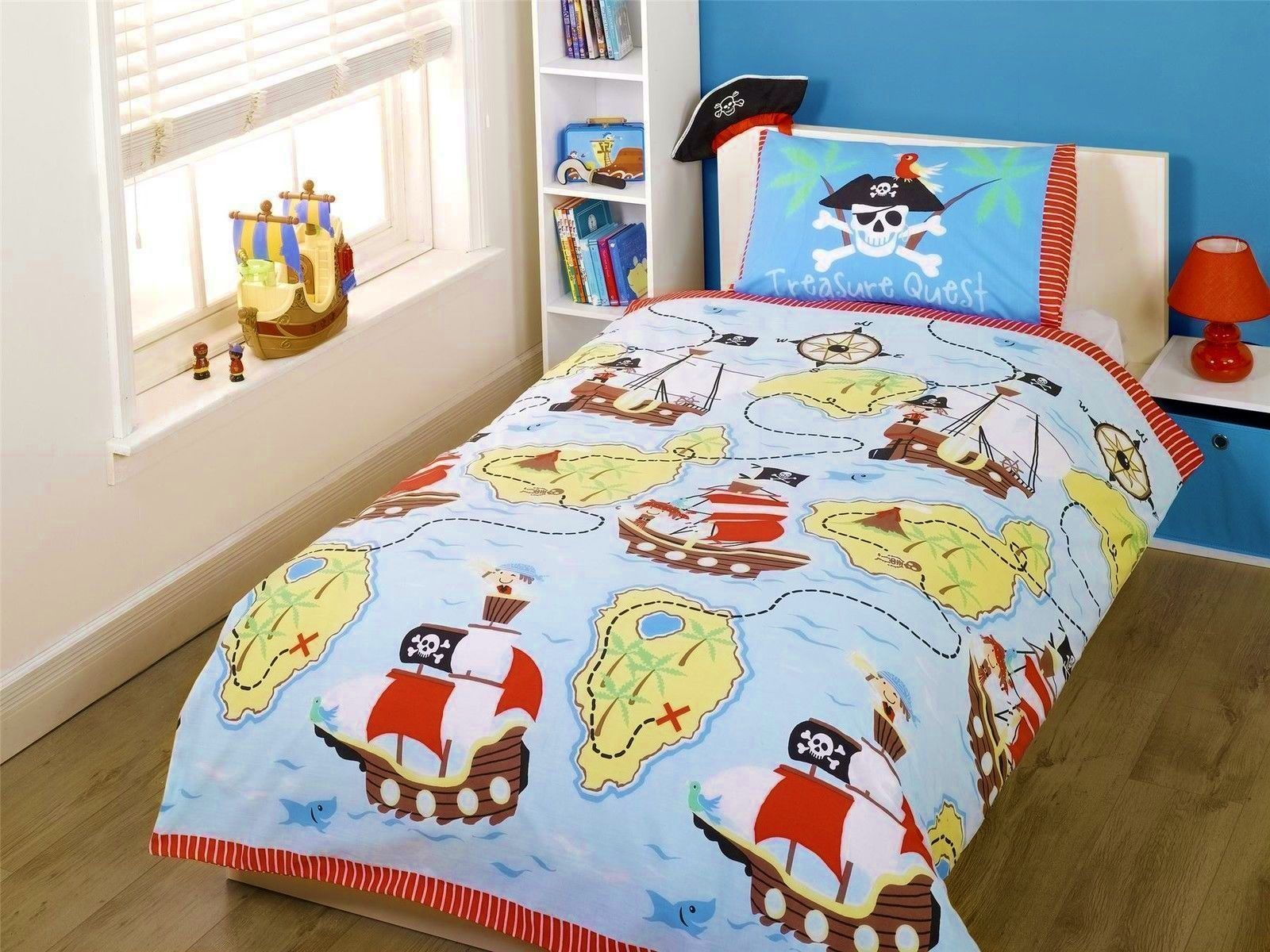 Wonderful Treasure Quest Pirate Bedding Full Duvet Cover / Comforter Cover Set    Pirate Ship Skull Cross