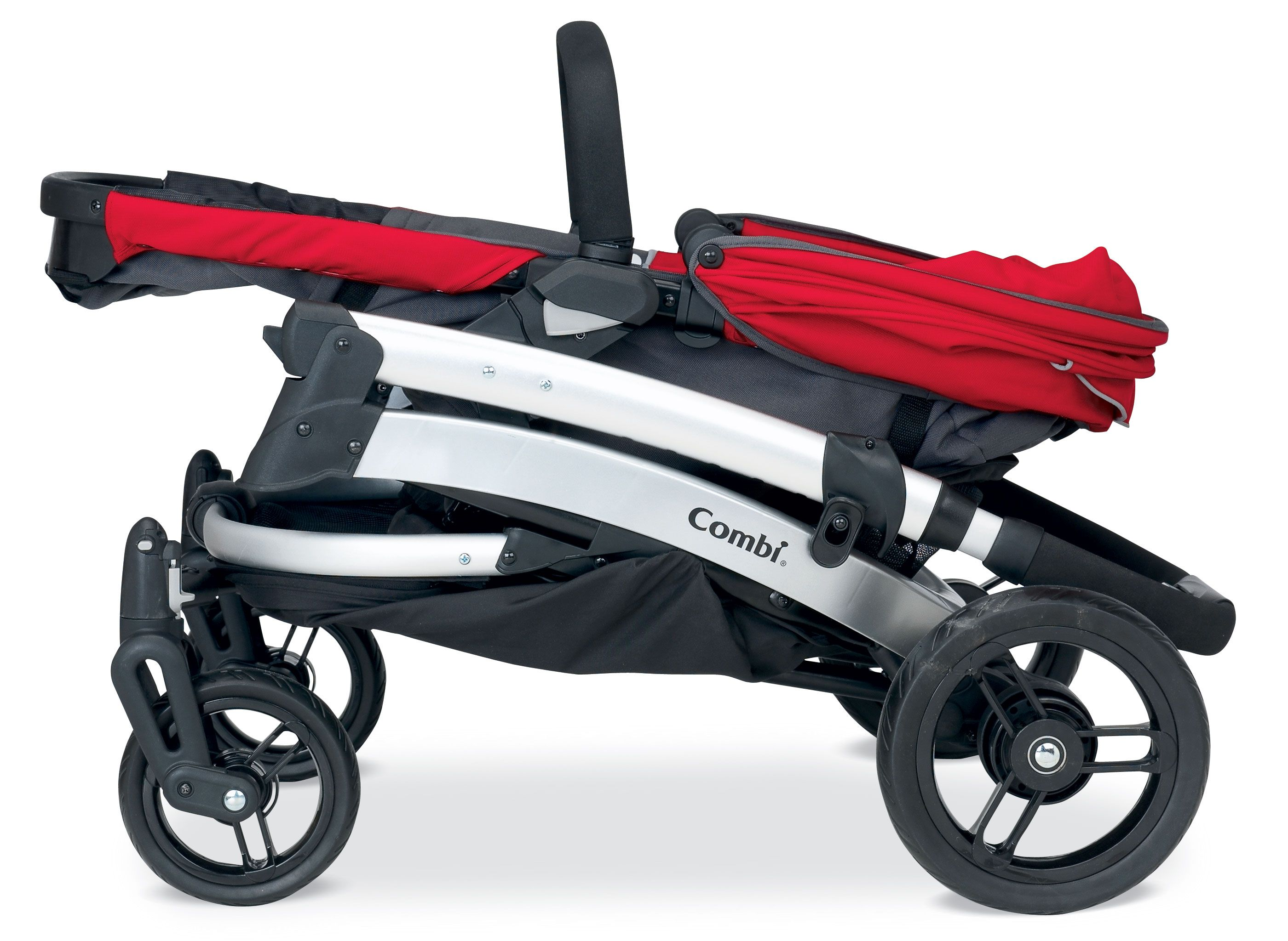 The folded Combi Catalyst in Red Stroller,