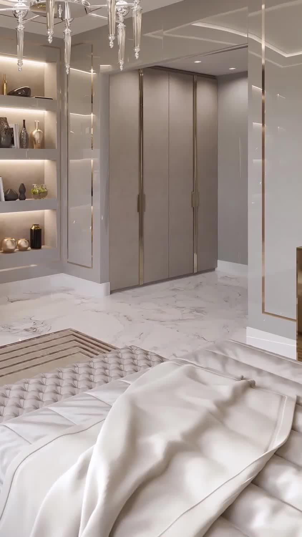 Lovely house bedroom design with beautiful decoratons. Find more luxury bedroom interior design ideas. #interiordesign #villa #mydesignsource #luxurydesigner #spaziointeriordecorationllc