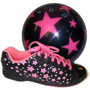 pink and black bowling shoes