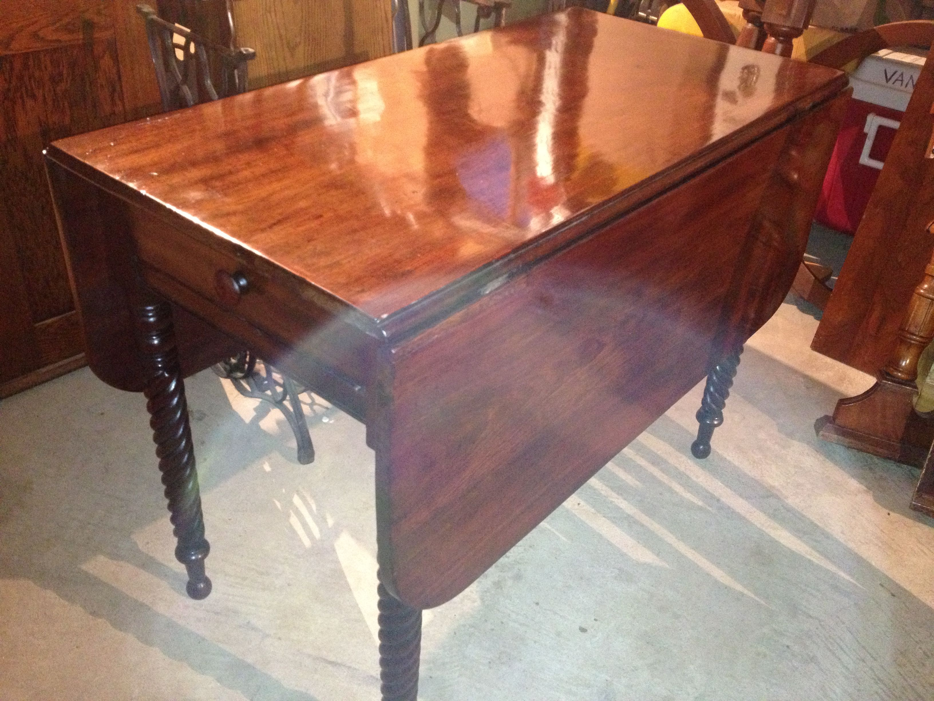 Pre Civil War Mid 1800s Or Earlier Burl Walnut Drop Leaf Table After Restoration