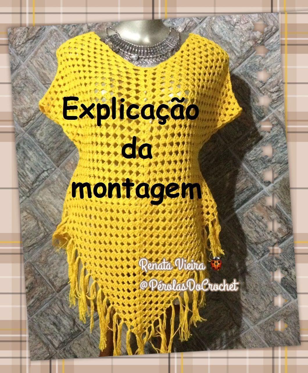 Saída de praia em crochet EXPLICAÇÃO DE MONTAGEM   Saída de praia de ...