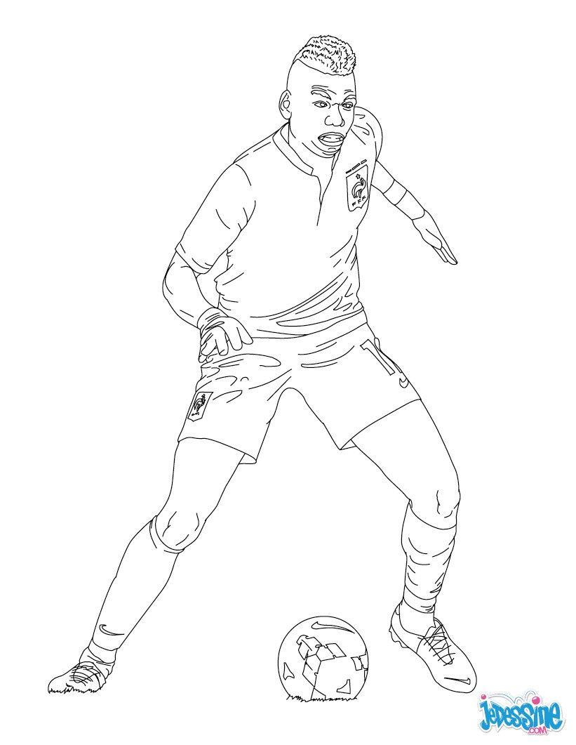 Coloriage du joueur de foot Paul Pogba € imprimer gratuitement ou colorier en ligne sur