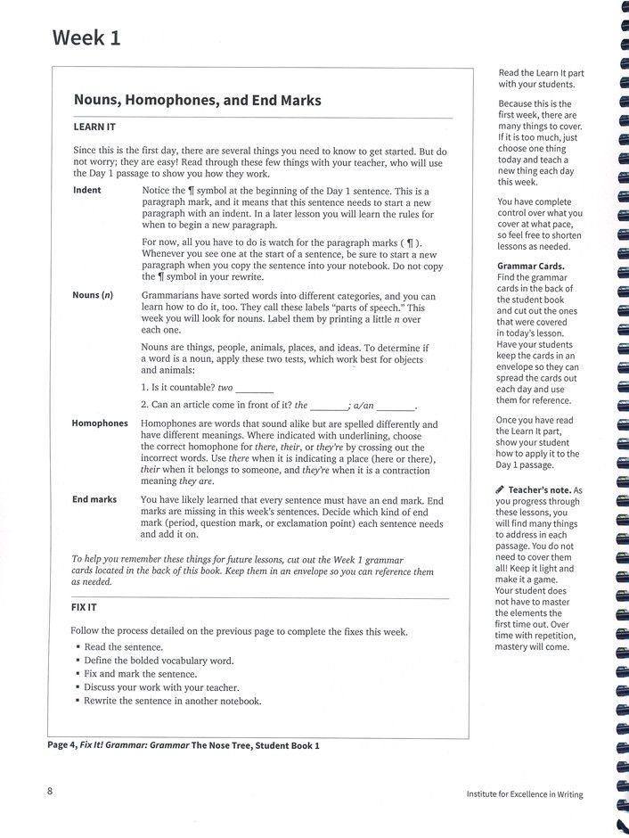 Fix It! Grammar Book 1: The Nose Tree (Grades 3-12