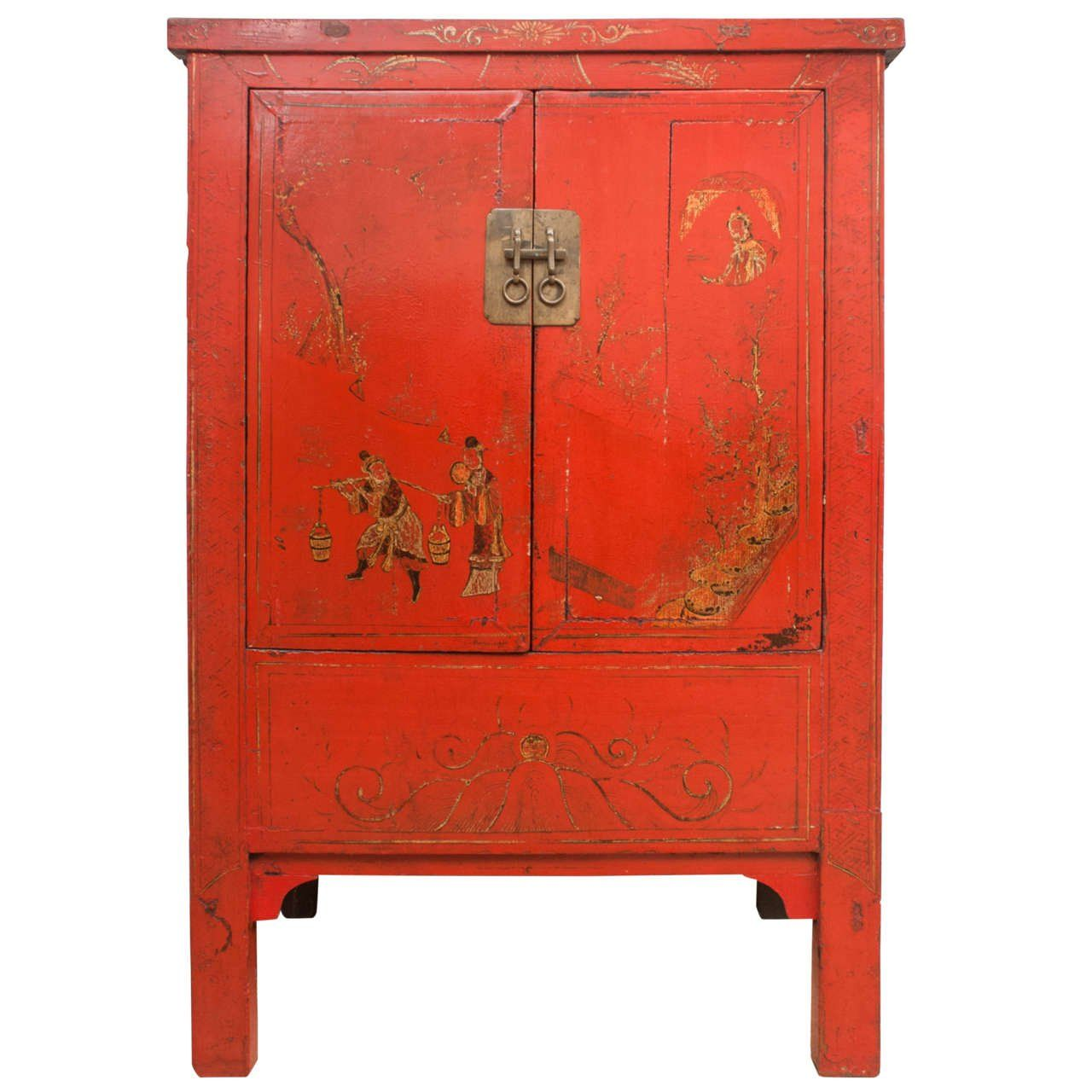 Charming Chinese Red Lacquer Cabinet With Gilt Painting, 19th Century