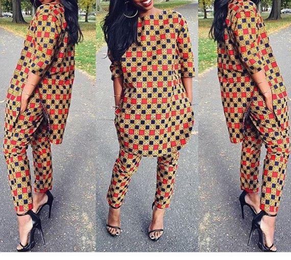 tunique et pantalon ankara par lagos2dakar sur etsy asq pinterest mode africaine pagne et. Black Bedroom Furniture Sets. Home Design Ideas
