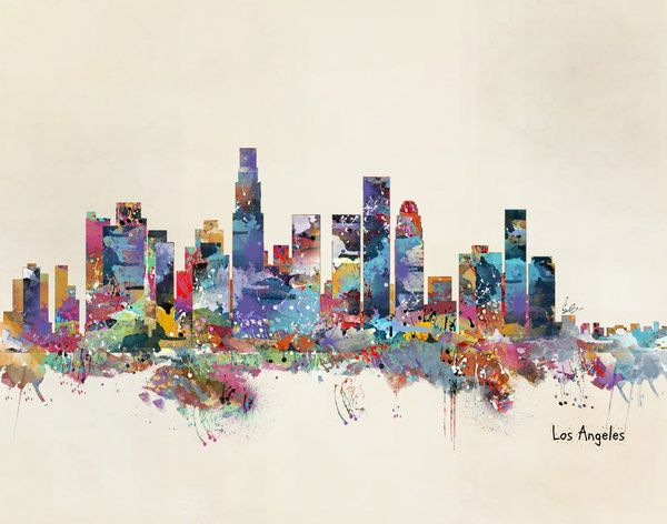 Los angeles california skyline canvas print canvas printsart