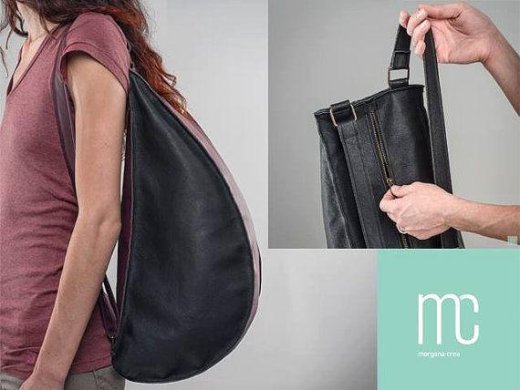 MNML Ecofriendly Handmade Recycled Leather Backpack by MorganaCrea