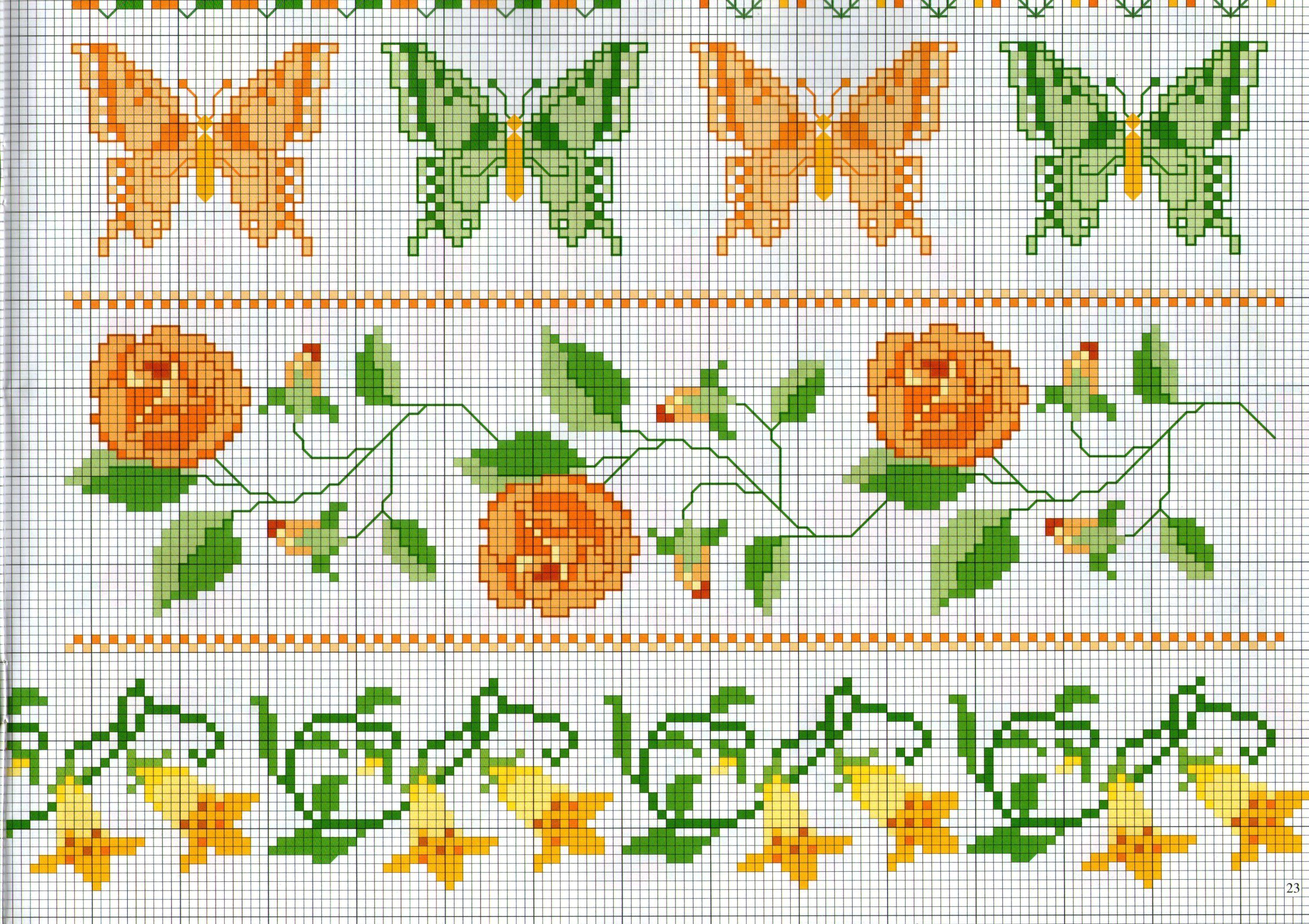 Bordi punto croce con farfalle e fiori schemi punto for Bordi punto croce