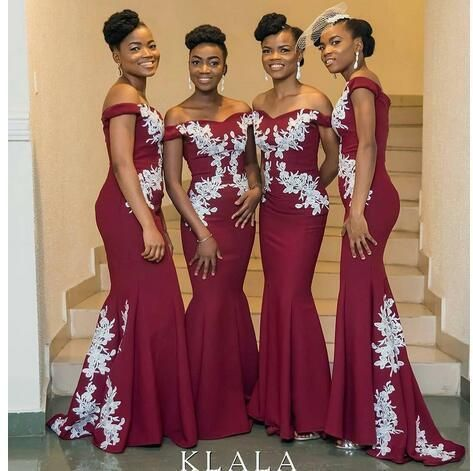 Prom Dress Plus Size, African Burgundy Mermaid Bridesmaid Dresses Off Shoulder White Appliques Satin Long Wedding Party Dresses Sweep Train Briarpatch Bridal #lacebridesmaids