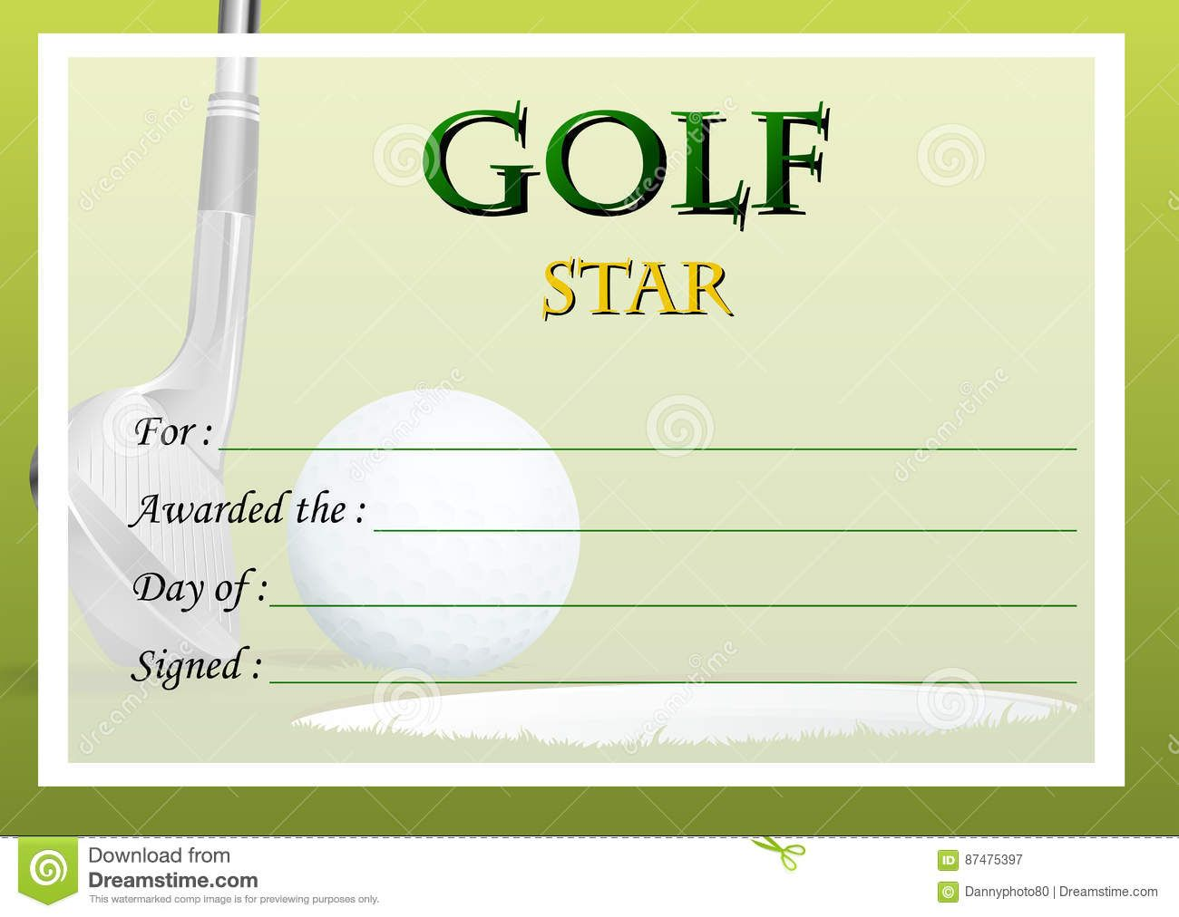The Excellent Certificate Template For Golf Star Stock Vector Throughout Golf G Gift Certificate Template Certificate Templates Graduation Certificate Template