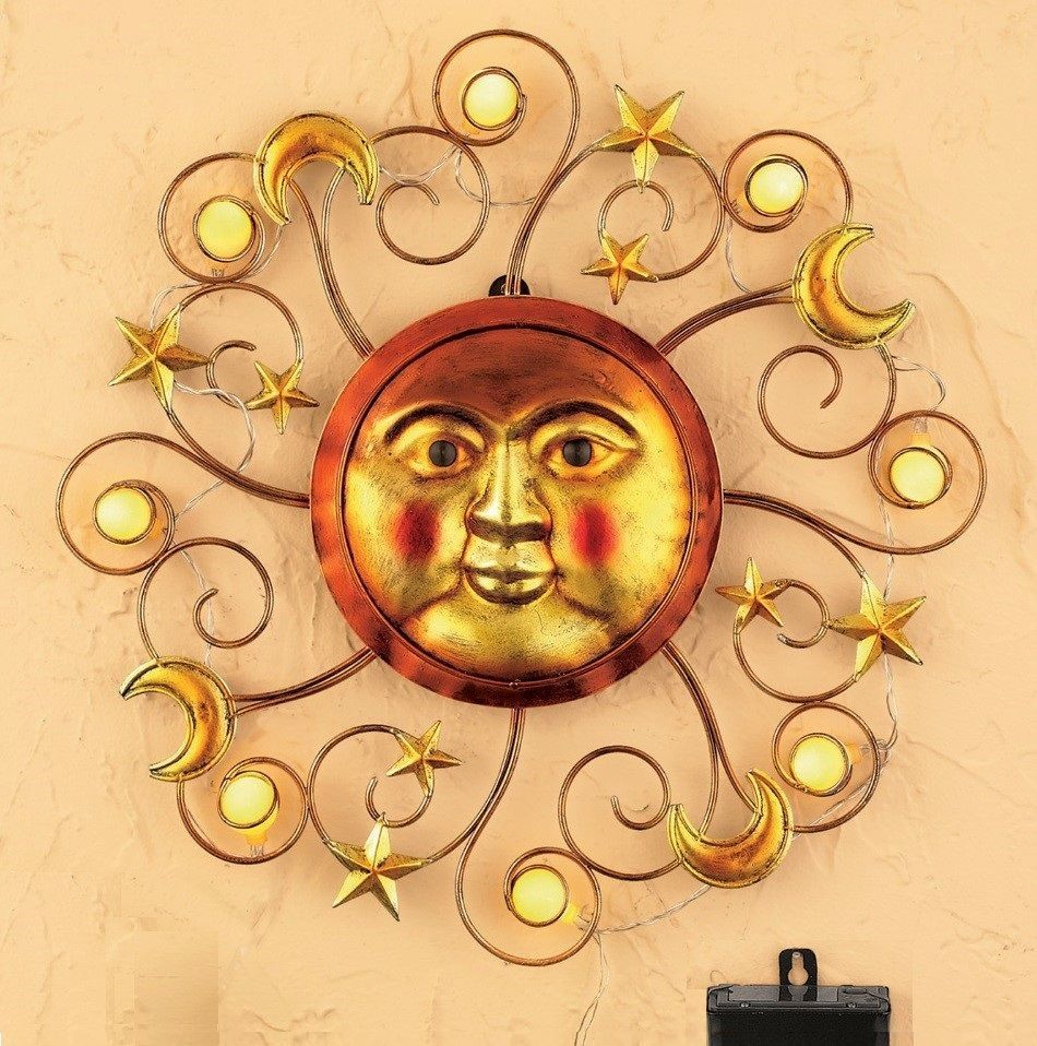 Sun Wall Art Metal Celestial Sculpture Moon Stars Solar Lighted ...