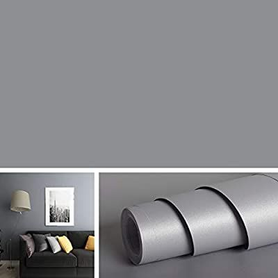Livelynine Solid Grey Wall Covering Removable Wallpaper