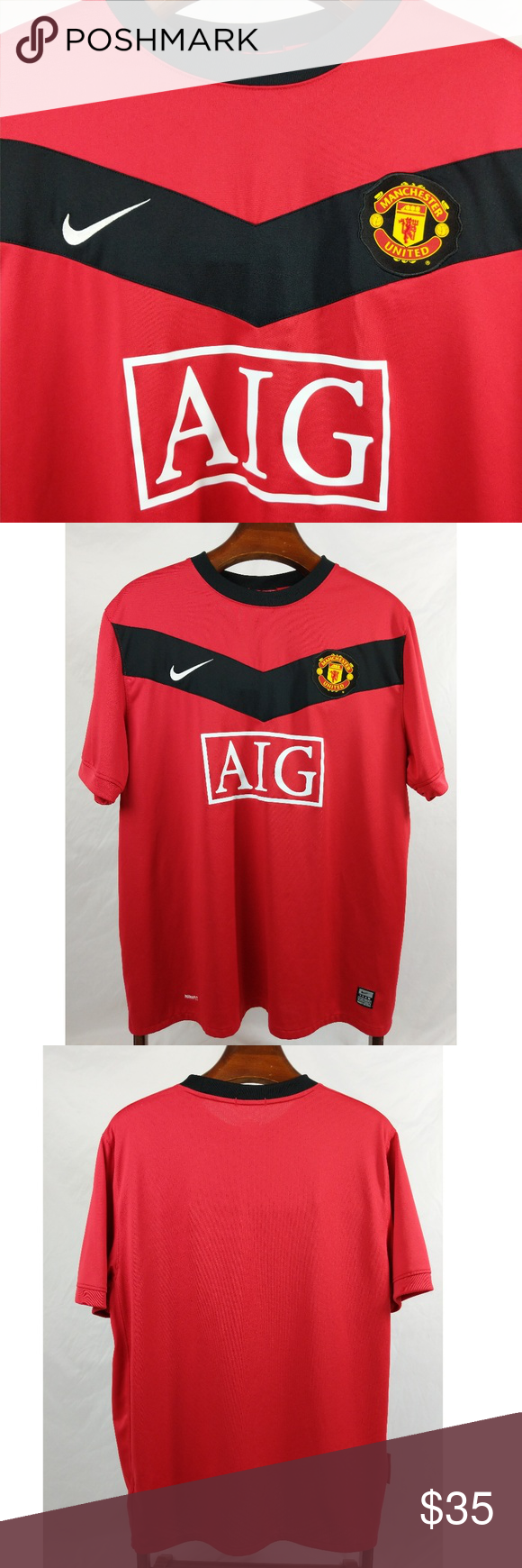 3bbe971759a Nike Manchester United Football Soccer Jersey Nike Manchester United  Football Soccer Jersey Shirt Mens XL AIG