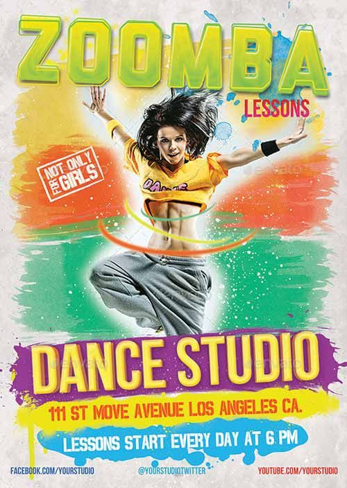 Zumba Fitness Lessons Flyer Template Zumba Ad