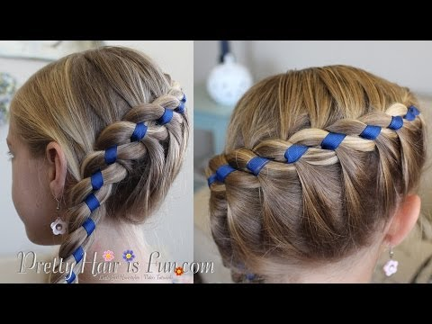 French Four Strand Braid With Ribbon Youtube In 2020 Four Strand Braids Ribbon Hairstyle Pretty Hairstyles