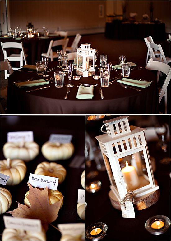 Rent a lantern for an easy, inexpensive, DIY centerpiece