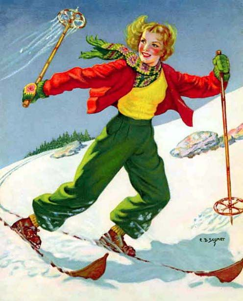 Skimming The Snow By Ellen Barbara Vintage Winter Sports Skiing Vintage Ski Posters Ski Posters