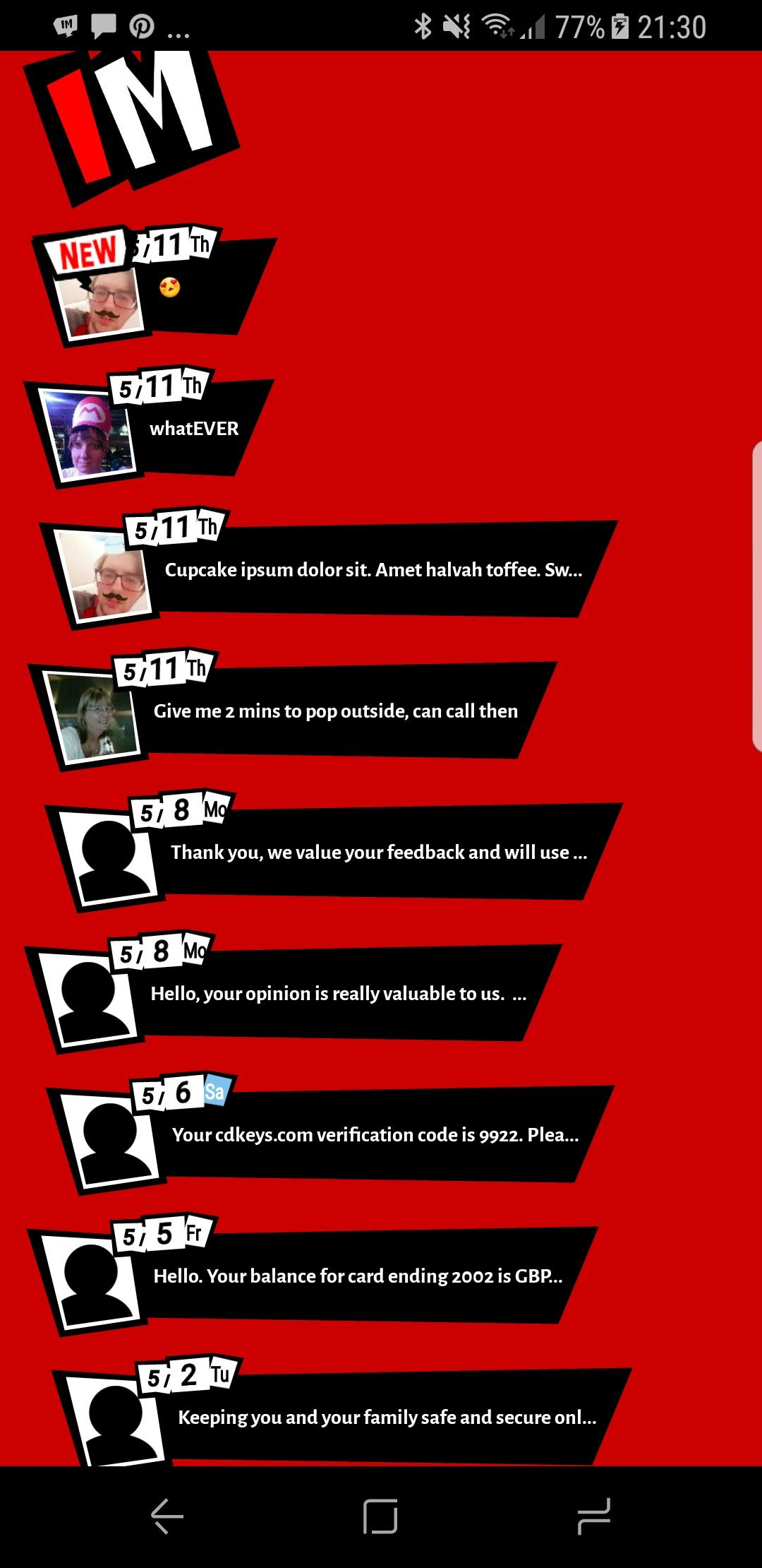 Another screen from my WIP Persona 5 text messaging Android