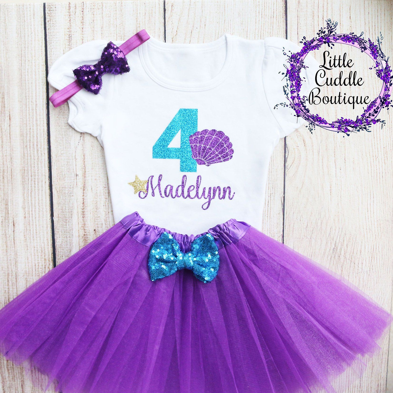 08d7b1488f47 Personalized Toddler Seashell Birthday Tutu Outfit, Mermaid birthday outfit,  Mermaid birthday ideas, Under