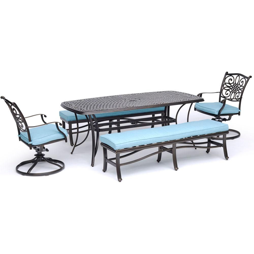 Hanover Traditions 5 Piece Aluminum Outdoor Dining Set With Blue Cushions With Swivel Rockers And Patio Dining Set Outdoor Dining Set Tile Top Tables