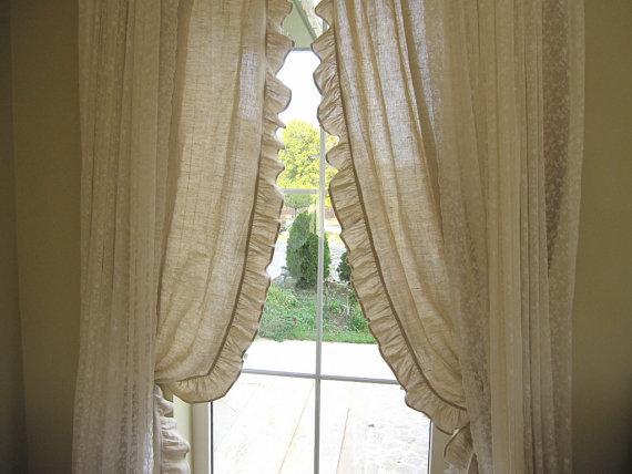 Curtain Panels Pleated Ruffle Rustic 2 Pcs Narrow Window Door