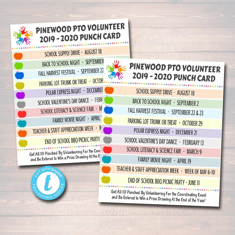 Editable Punch Card Template Volunteer Membership Pto Pta Etsy Pta Organization Pta Volunteer Punch Cards