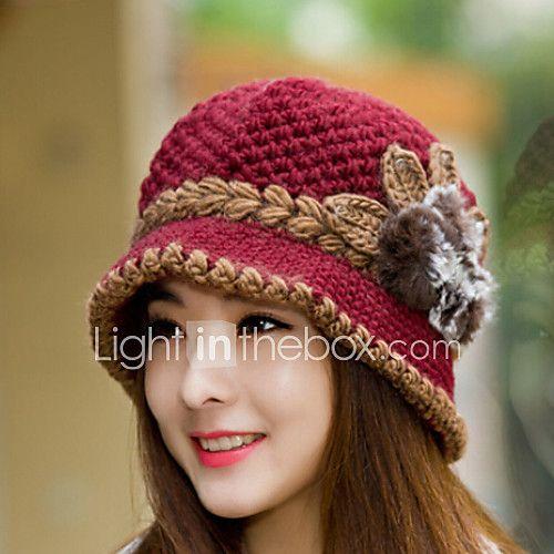 2631e87cf7dee ... Crochet Hat Patterns for Women. Mujer Invierno Vintage Bonito Fiesta  Trabajo Casual Lana Algodón Boina Francesa
