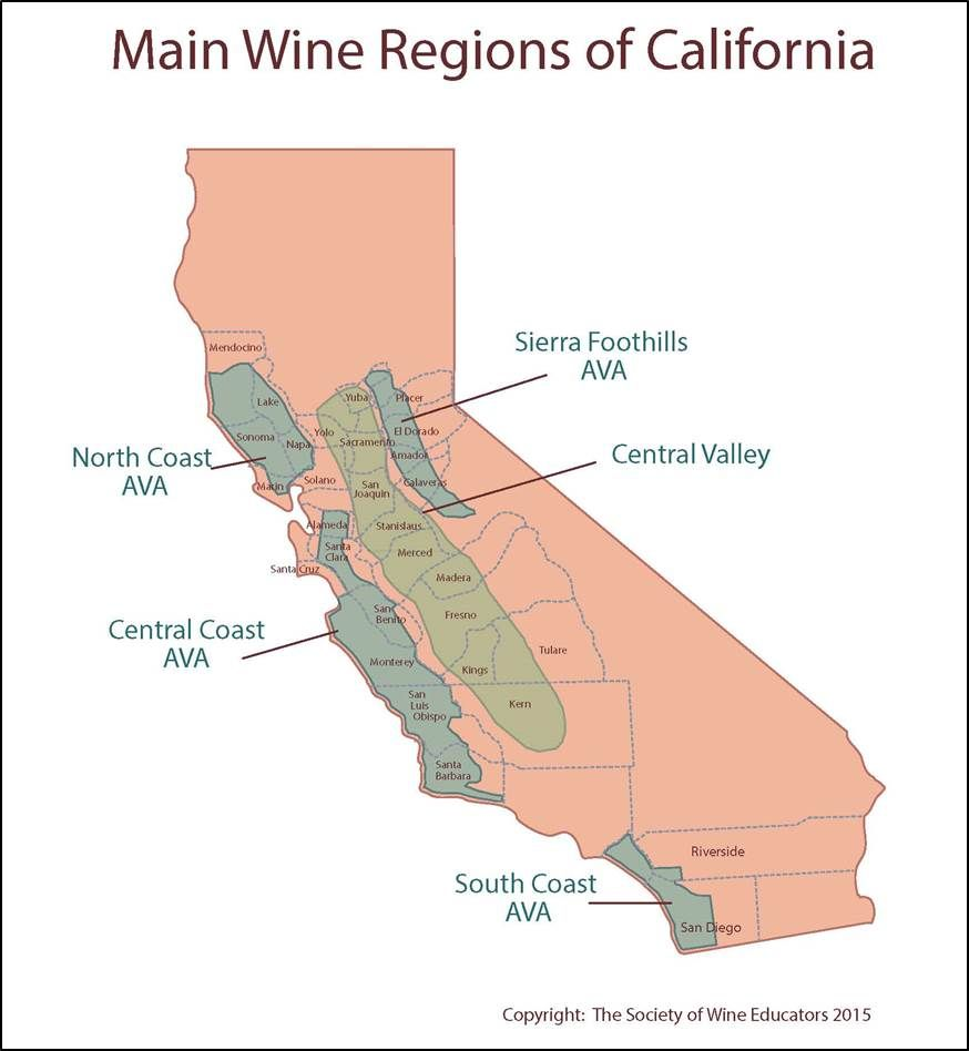 California Wine Wineeducation Wine Education Pinterest Of - Us wine regions map