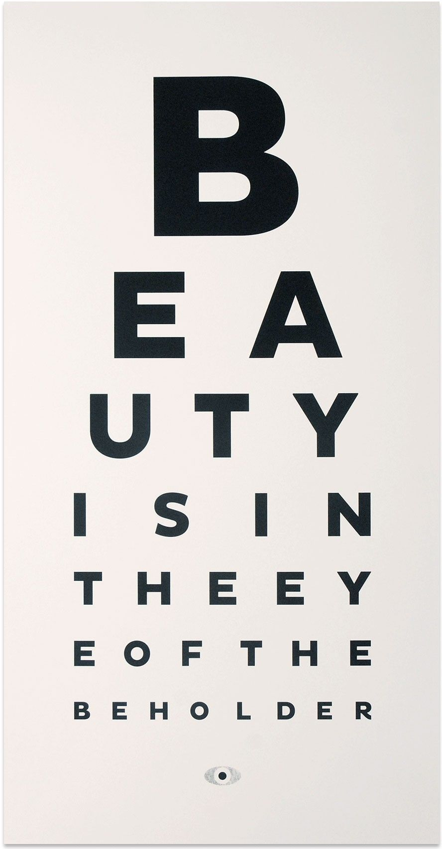 Typographic Print Beauty Eye Chart Art Contemporary Art Design