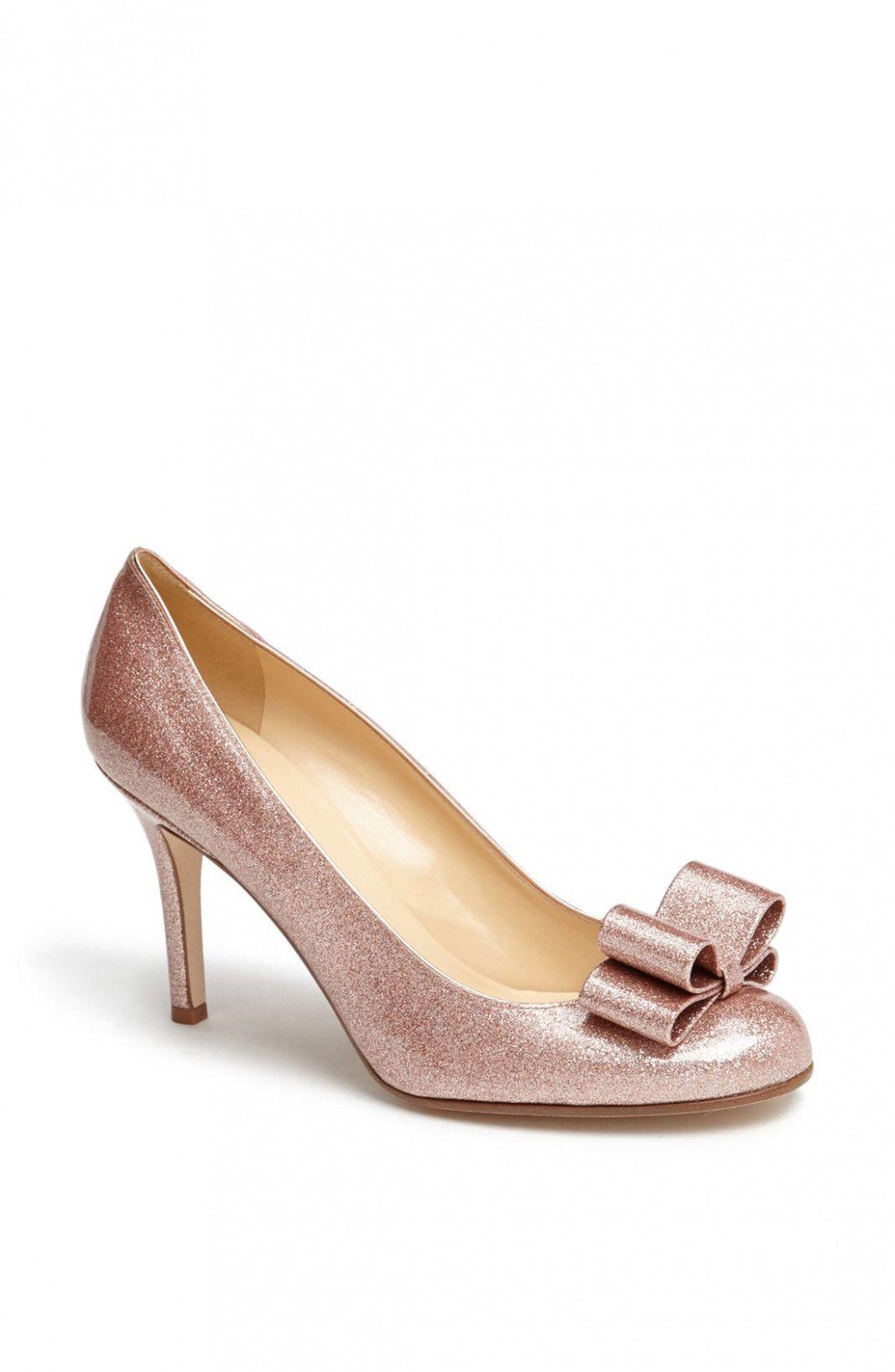 86306a886082 kate spade krysta pump in pink rose gold glitter patent lyst  RoseGold   WeddingHeelsKateSpade