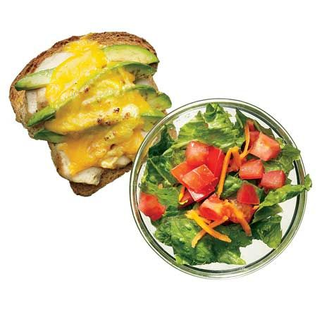 Open-Faced Chicken-Avocado Melt*   1 slice whole-grain bread   3 oz grilled chicken breast   1/4 avocado, slivered   1 oz Cabot 50% reduced-fat cheddar cheese, shredded    Side Salad   1 cup mix of romaine, chopped tomatoes, and shredded carrots   1 tsp balsamic vinegar   1 Tbsp olive oil