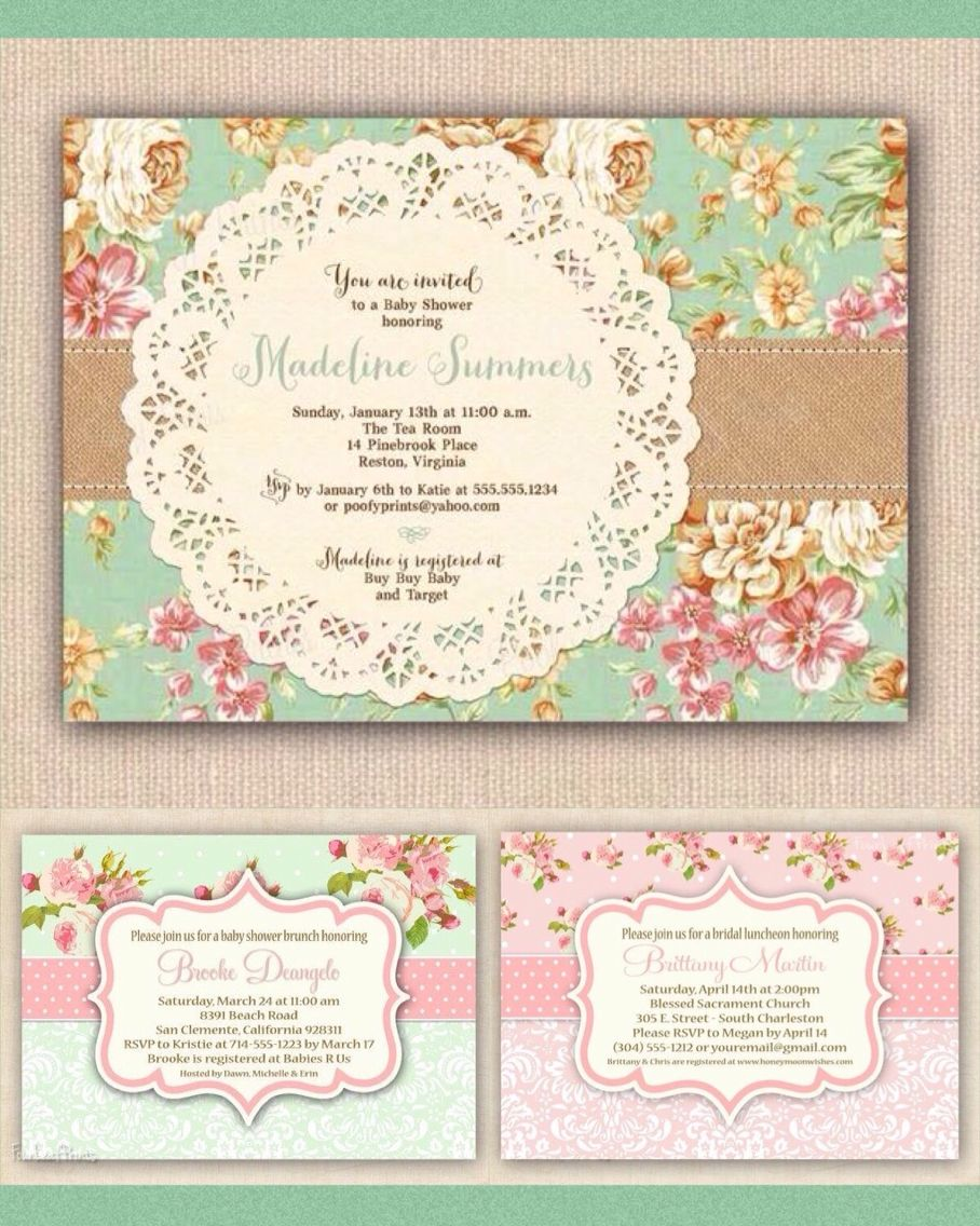 Vintage Baby Shower Invitations | MY BABY GIRL SHOWER!! =D ...