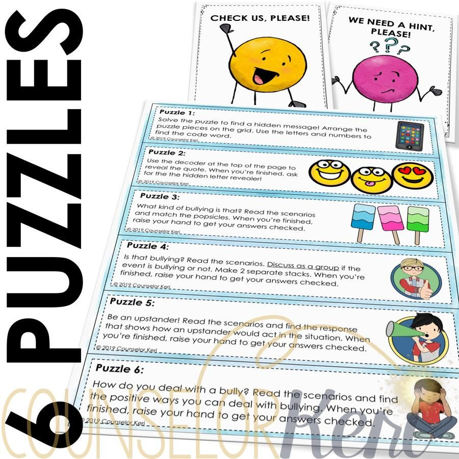 Bullying Prevention Escape Room Bullying Activity for