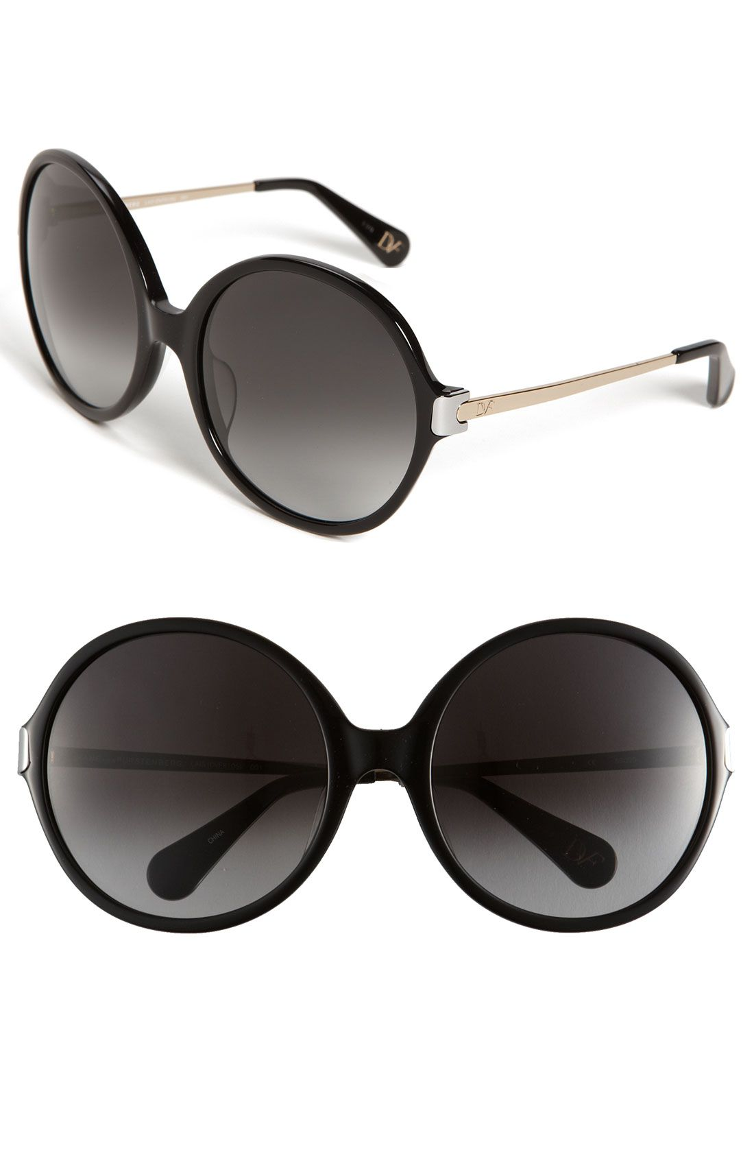 e25a9d30924 Free shipping and returns on Diane von Furstenberg  Lais  Oversized Round  Sunglasses at Nordstrom.com. Logo engraving brands the sleek metal temples  of chic ...