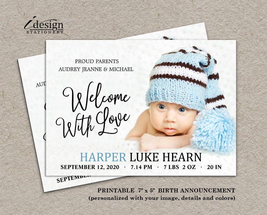 New Baby Boy Photo Birth Announcement Card – Diy Baby Announcement
