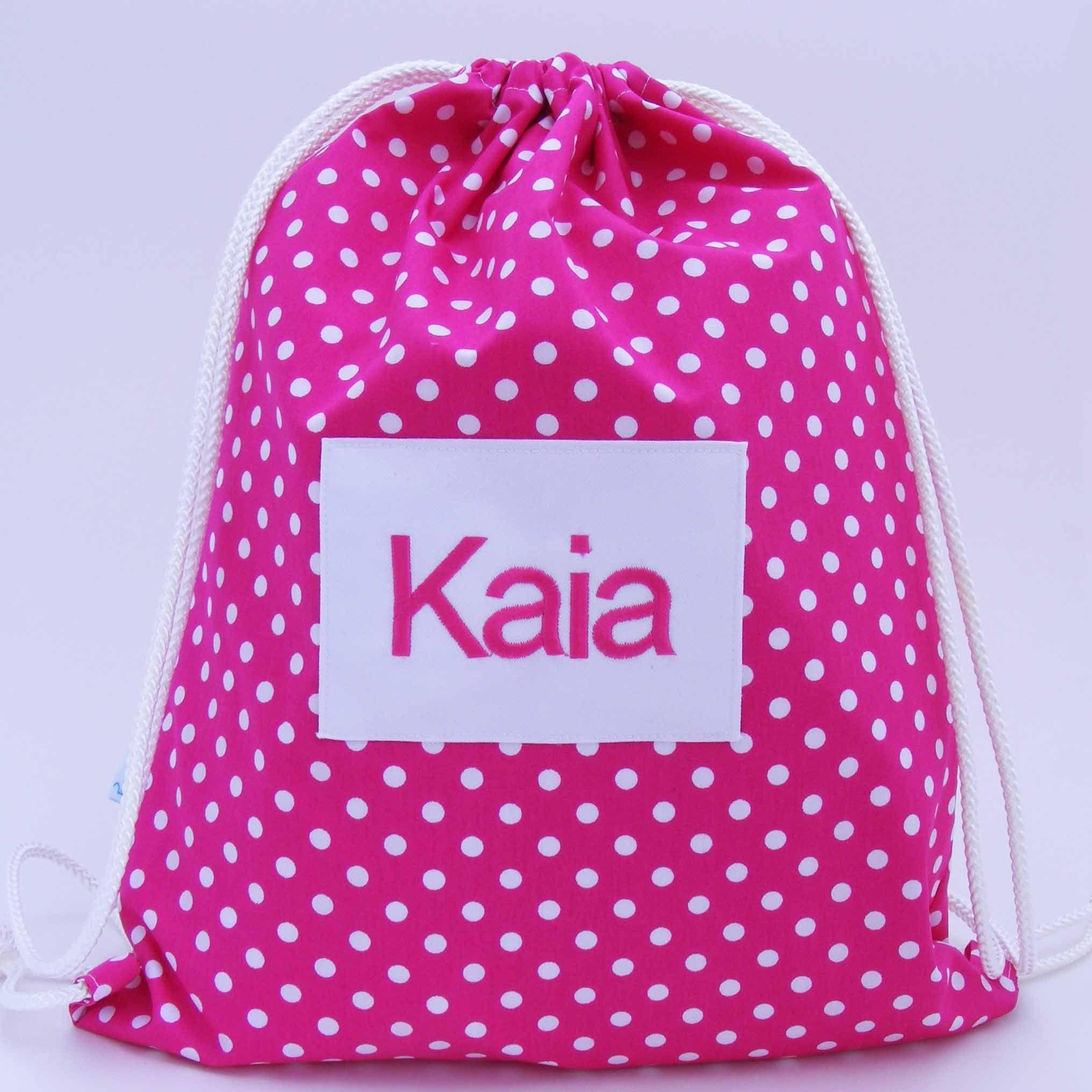 Kids Personalised Applique Name Rucksack Red School Nursery Swimming Gym Bag