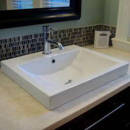 Transitional Bathroom Remodel With Xyuim White Semirecessed Sinks - Hatchett bathroom remodel