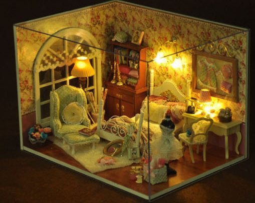 Light Up Designers Miniatures Bedroom With Music Box   DIY Dollhouse Bedroom   1:24 Pink Bedroom Set  Thank you very much for visiting my shop.